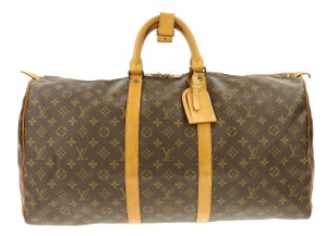 Louis Vuitton Bandouliere Lv Mono Duffle Boston Brown Travel Bag
