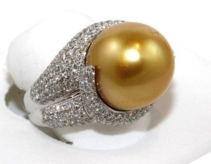 Other Golden South Sea Pearl Diamond Pave Solitaire Ring 18k WG 15mm 2.29Ct