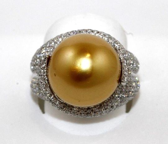 Other Golden South Sea Pearl Diamond Pave Solitaire Ring 18k WG 15mm 2.29Ct Image 1