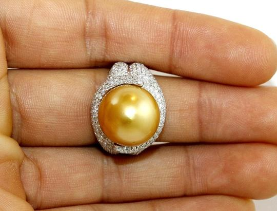 Other Golden South Sea Pearl Diamond Pave Solitaire Ring 18k WG 15mm 2.29Ct Image 2