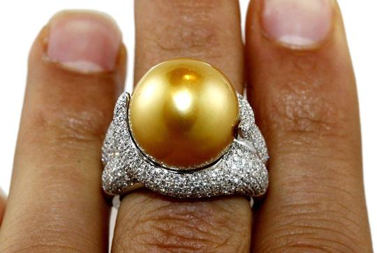 Other Golden South Sea Pearl Diamond Pave Solitaire Ring 18k WG 15mm 2.29Ct Image 3