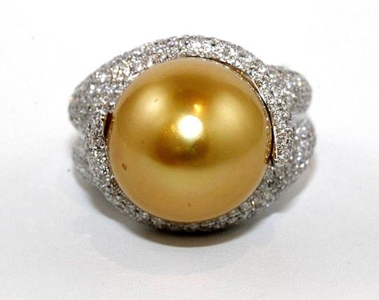 Other Golden South Sea Pearl Diamond Pave Solitaire Ring 18k WG 15mm 2.29Ct Image 4
