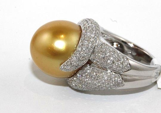 Other Golden South Sea Pearl Diamond Pave Solitaire Ring 18k WG 15mm 2.29Ct Image 5