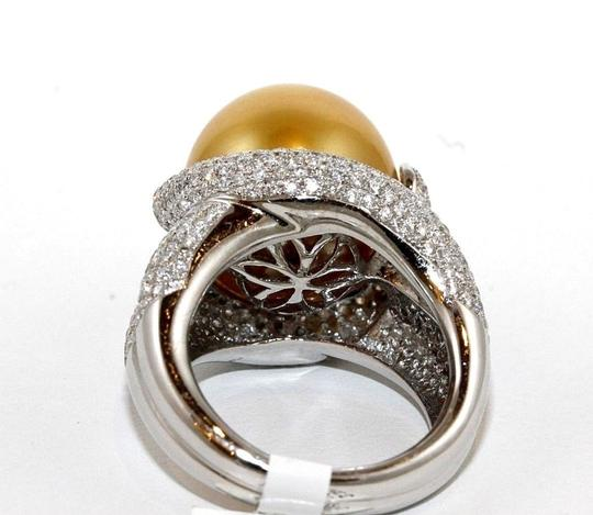 Other Golden South Sea Pearl Diamond Pave Solitaire Ring 18k WG 15mm 2.29Ct Image 6