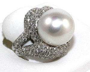 Other South Sea Pearl Solitaire Ring w/Diamond Halo 18k WG 16.5mm 4.83Ct