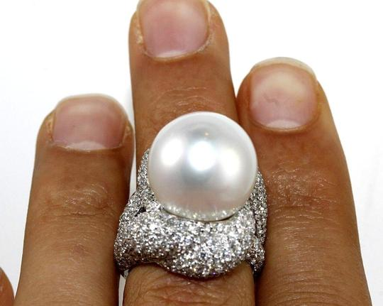 Other South Sea Pearl Solitaire Ring w/Diamond Halo 18k WG 16.5mm 4.83Ct Image 3
