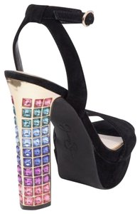 Jessica Simpson Suede Open Toe Embellished Chunky black with muliti-colored heels Platforms