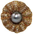 Other Huge Tahitian Pearl & Diamond Cluster Oyster Ring 18k RG 11.5mm 3.68Ct Image 0