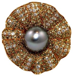 Other Huge Tahitian Pearl & Diamond Cluster Oyster Ring 18k RG 11.5mm 3.68Ct
