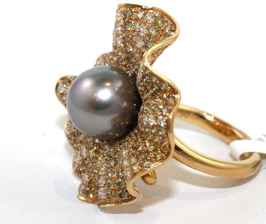 Other Huge Tahitian Pearl & Diamond Cluster Oyster Ring 18k RG 11.5mm 3.68Ct Image 1
