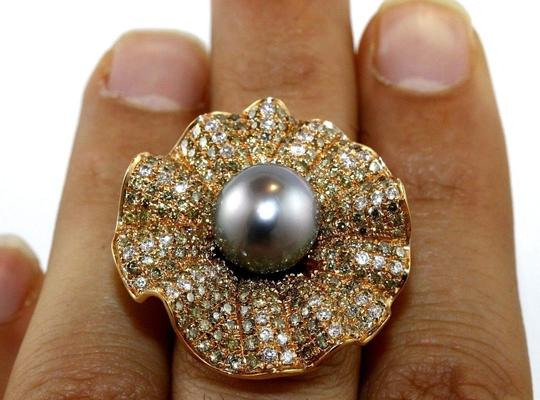 Other Huge Tahitian Pearl & Diamond Cluster Oyster Ring 18k RG 11.5mm 3.68Ct Image 4
