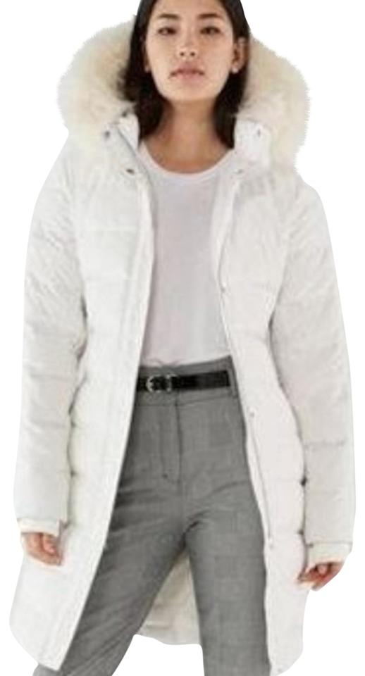 959b31d3d Express White Long Down Belted Smocked Puffer Coat Medium Jacket Size 8 (M)  13% off retail