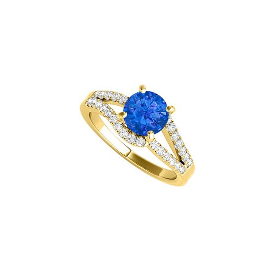 DesignByVeronica Split Shank Sapphire CZ Ring in Yellow Gold Vermeil Image 0