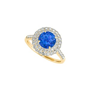 DesignByVeronica Halo Ring with Created Sapphire CZ in 18K Yellow Gold Vermeil