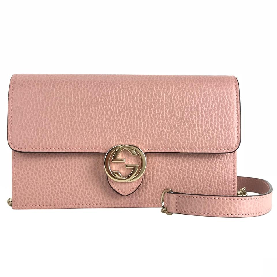139a5e0f5e6 Gucci Interlocking Chain Mini Wallet Pink Leather Cross Body Bag ...