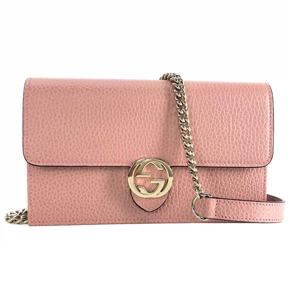 ecbaec1bc5e Gucci Interlocking Chain Mini Wallet Pink Leather Cross Body Bag ...