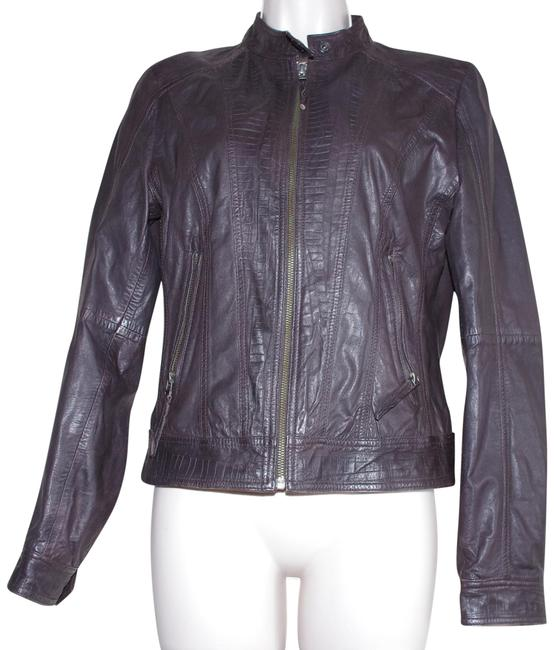 Item - Brown Cropped Women's Stand-collar Moto Jacket Size 4 (S)