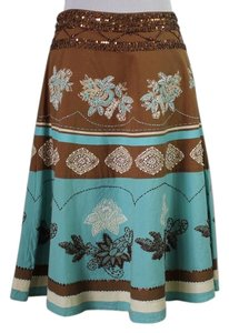 Anthropologie Skirt Turquoise and brown