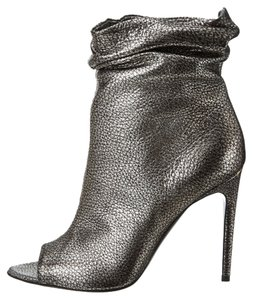 Burberry Burlison Metallic Silver Ankle Heels Heel Peep Toe Women's Size 37.5 7.5 Italy Luxury Heritage Grain Leather Anthracite Boots