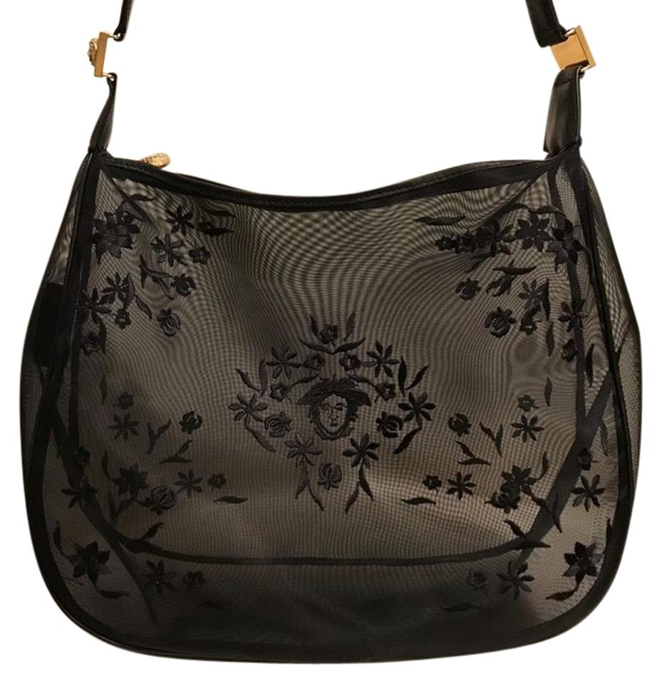 5cceb6783f Versace Vintage Gianni Couture Embroidered Mesh Beach Black Hobo Bag ...