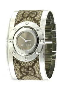 1944d3aa548 Gucci Gucci GG Pattern Canvas on Stainless Steel Twirl Reference 112 Bangle