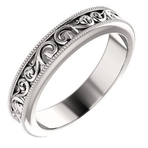Apples of Gold Carved Paisley Pattern Ring Women's Wedding Band