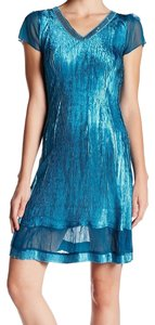 Komarov Crinkled Sequin Lace V-neck Blue Dress