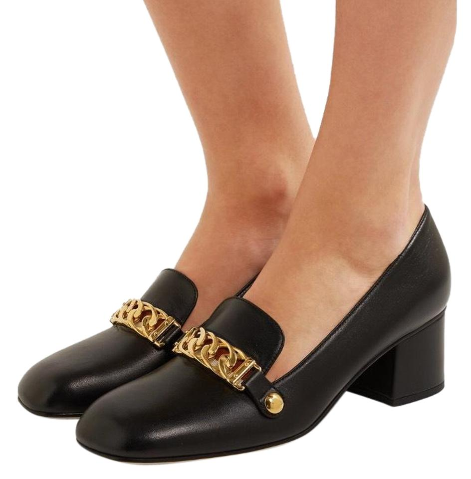 8aa0be61c Gucci Sylvie Chain Embellished Leather Pumps Size US 8 Regular (M, B ...