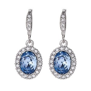 Givenchy Silver-Tone Oval Crystal Drop Earrings