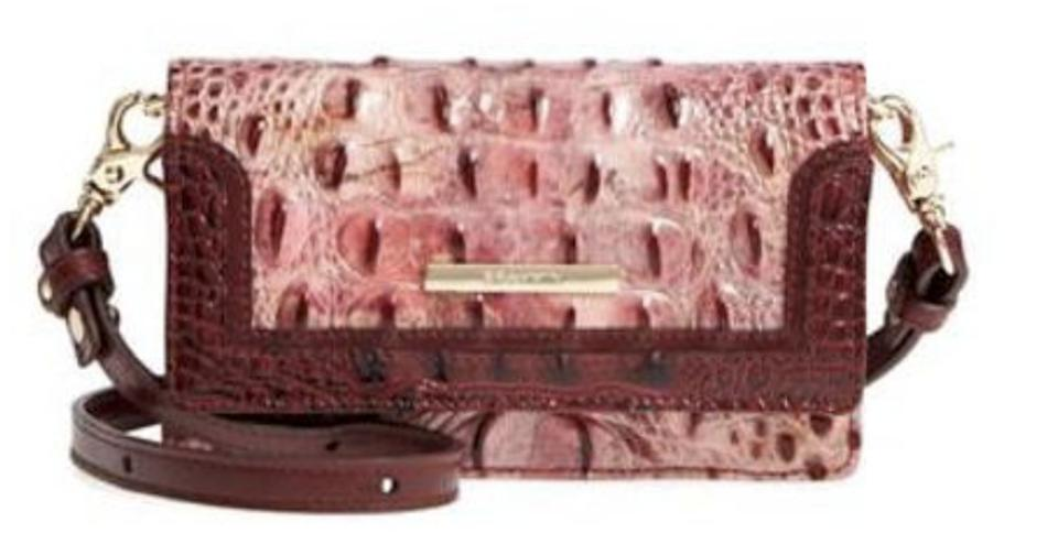 Brahmin Nadia Croc Embossed Pink Leather Cross Body Bag