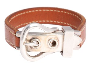 Hermès BARENIA LEATHER AND STERLING SILVER BOUCLE SELLIER BRACELET