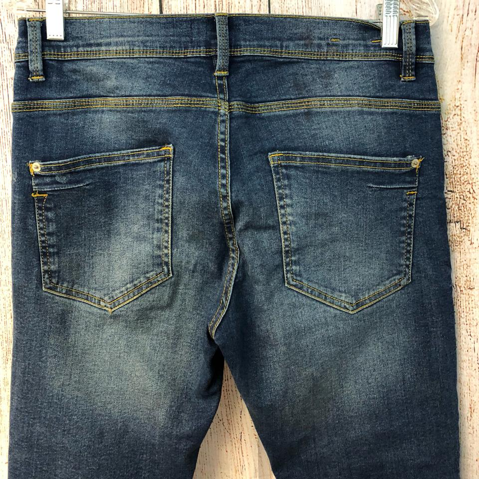 0014e515 Zara Blue Medium Wash Man Stretch Cotton Blend Denim Skinny Jeans ...