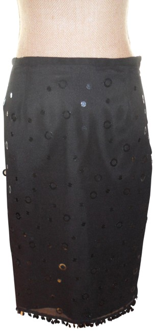 Item - Black Very Cute Silk with Hanging Sequins Fun To Wear Skirt Size 8 (M, 29, 30)