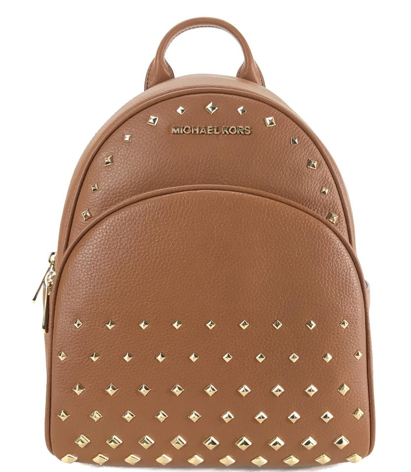 8a5652e5a400 Michael Kors Abbey Medium Studded Brown Leather Backpack - Tradesy