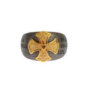 Gray / Gold D19146-3 Crest 925 Sterling Silver Ring (Eu 60 / Us 10) Men's Jewelry/Accessory