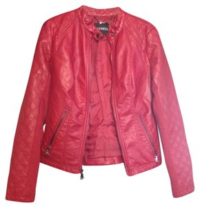 Express Faux Leather Quilted Red Leather Jacket