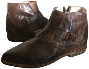 Bed|Stü Ankle Fringed Leather Teak Rustic Boots