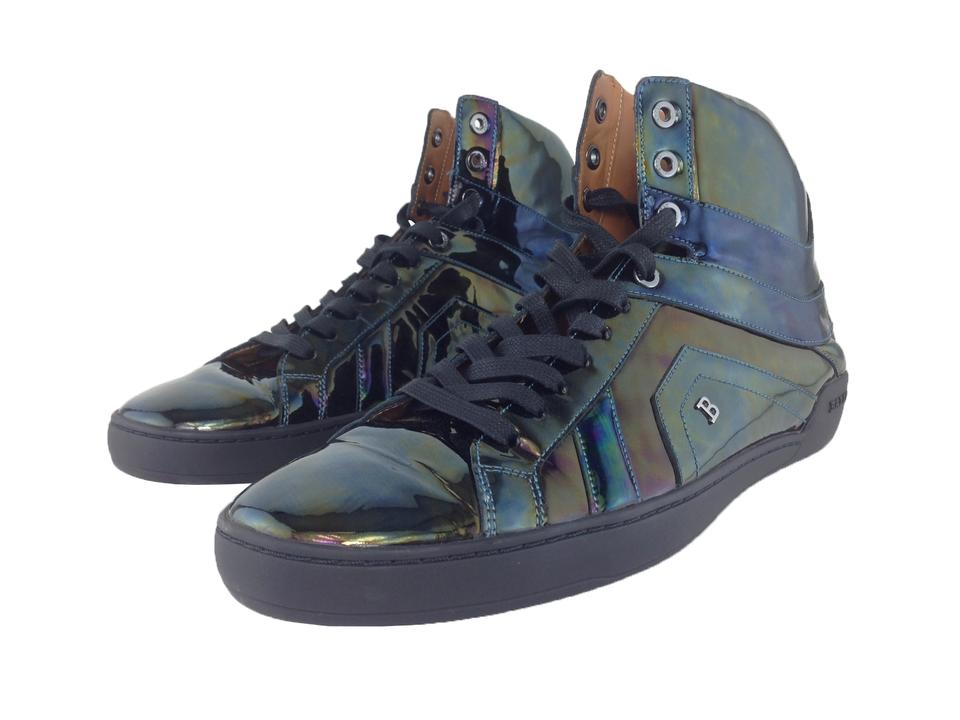 e82a60e8e056 Bally Black Men s Eticon Petrol Patent Leather High-top Sneakers Shoes