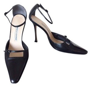 Manolo Blahnik New Ankle Strap Leather Never Been Worn Black Pumps
