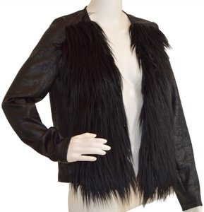 Libby Edelman Faux Fur New Faux Casual Leather Jacket