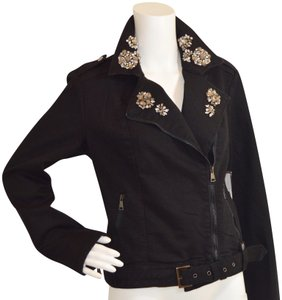 Kate & Mallory Moto New Casual Black Womens Jean Jacket