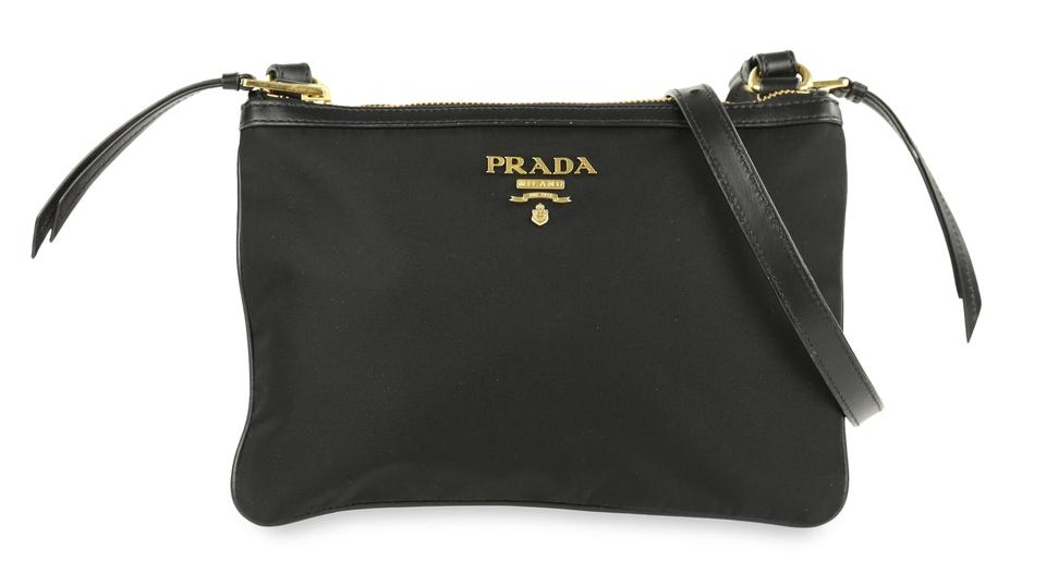 4f44730bc88b Prada Double Tessuto Zip Black Canvas Cross Body Bag - Tradesy