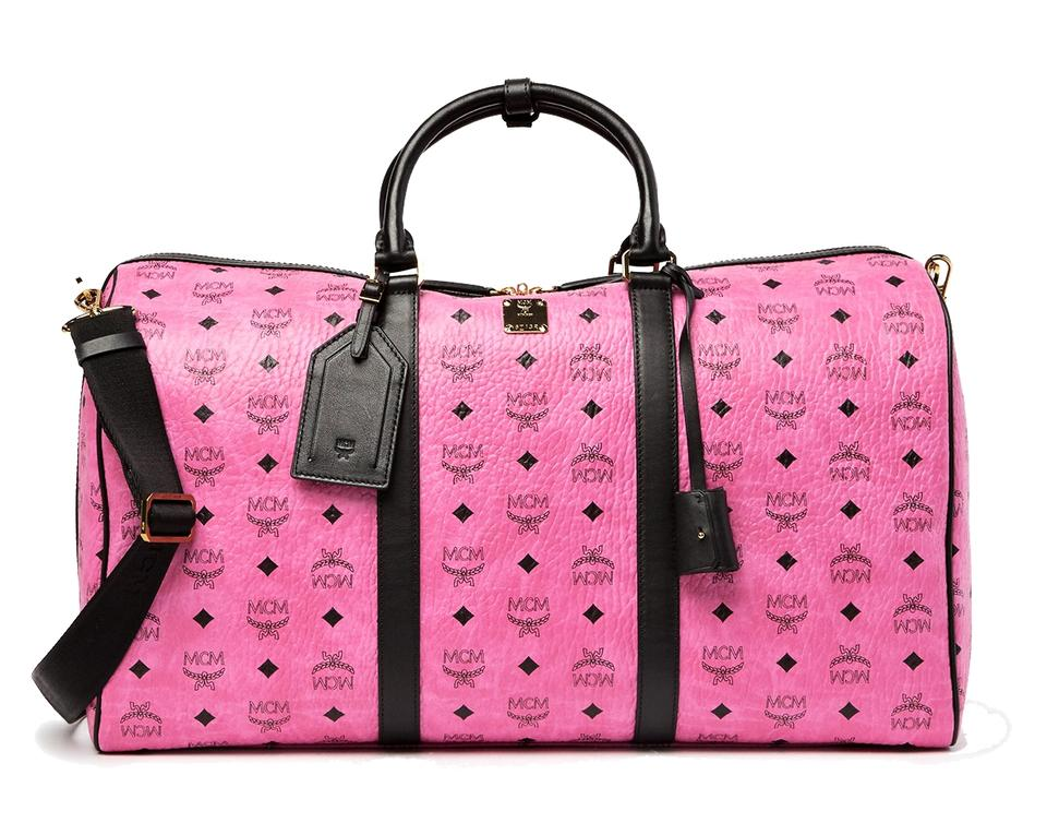 e561a9727673 MCM New Large Duffle Pink Visetos Coated Canvas Leather Trim Weekend Travel  Bag