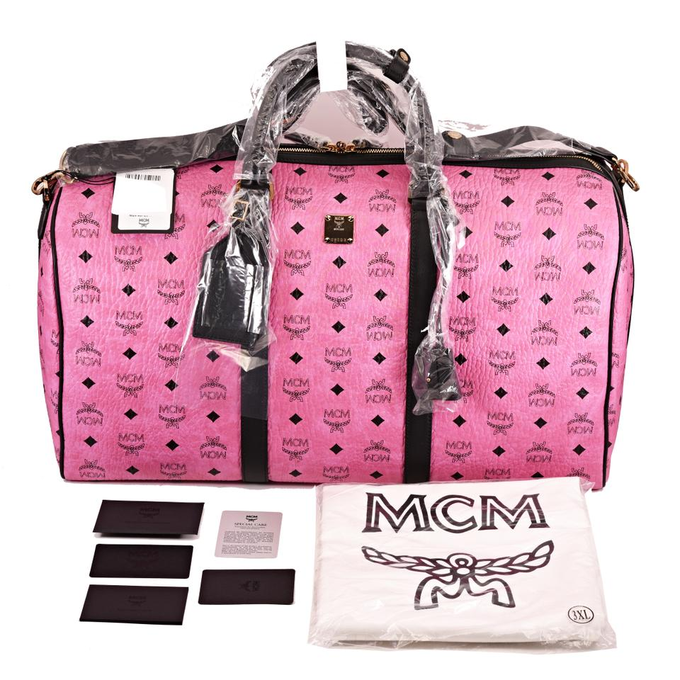 4e1f2a1caec5 MCM New Large Duffle Pink Visetos Coated Canvas Leather Trim Weekend ...