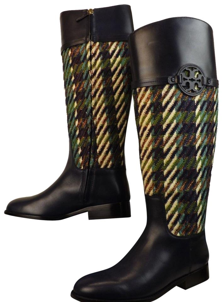 9f136edd947 Tory Burch Multicolor Miller Bright Navy Green Dogtooth Tweed Leather Reva  Riding Boots Booties