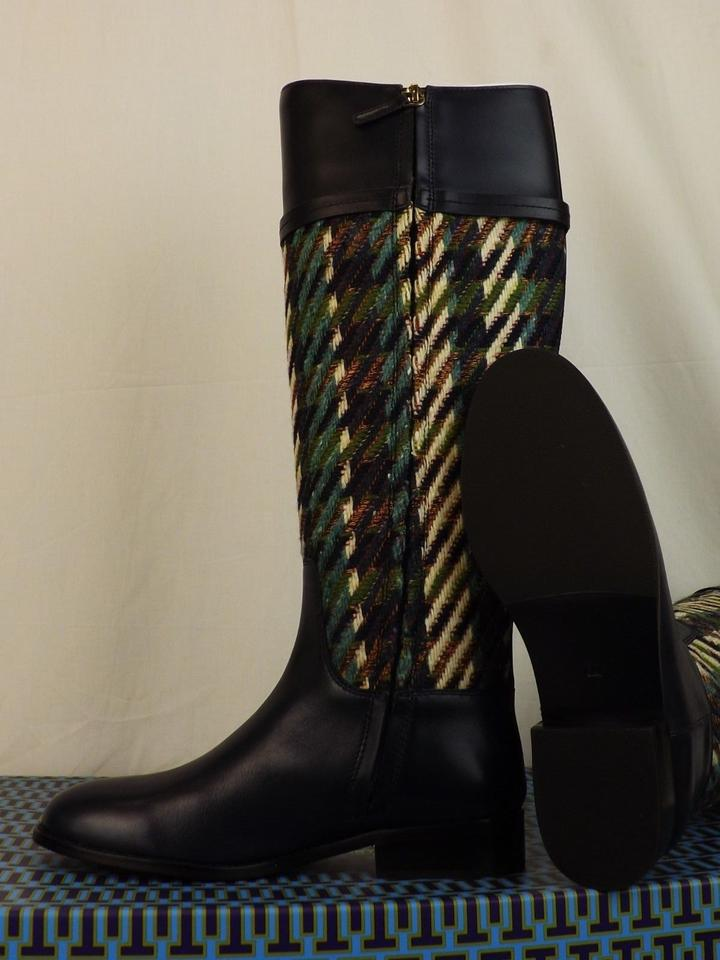 76cf5935b Tory Burch Multicolor Miller Bright Navy Green Dogtooth Tweed Leather Reva Riding  Boots Booties Size US 7 Regular (M