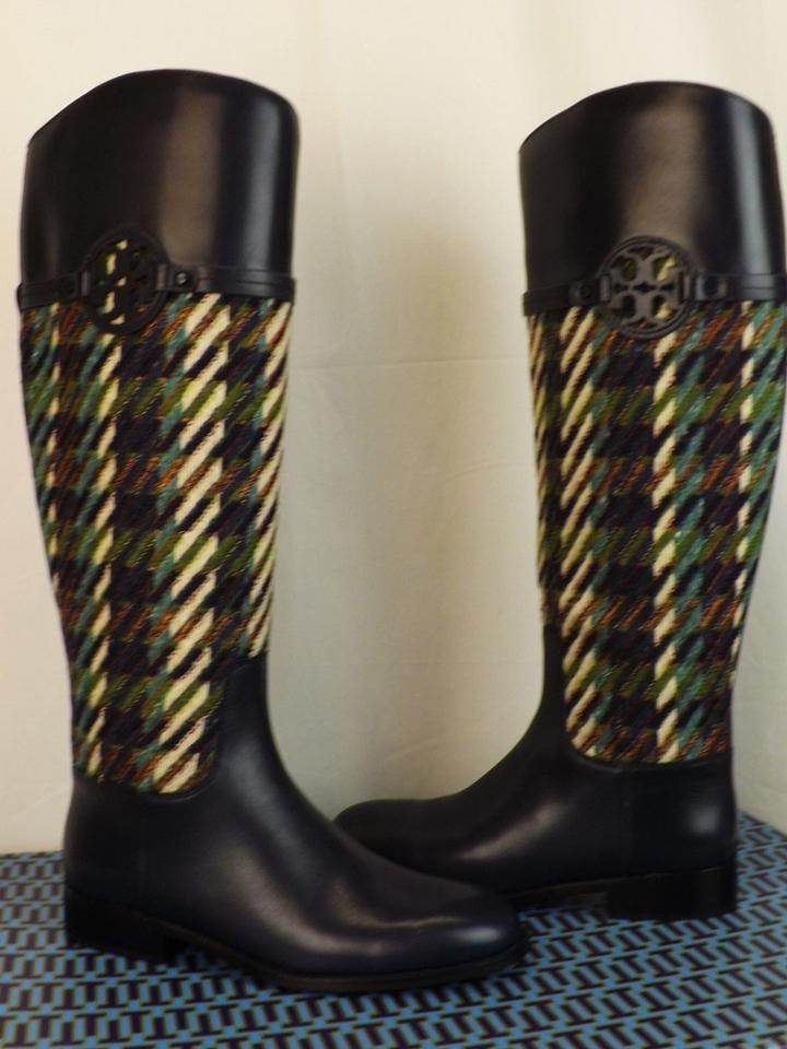 27b27de1ddc Tory Burch Multicolor Miller Bright Navy Green Dogtooth Tweed Leather Reva  Riding Boots Booties Size US 7 Regular (M