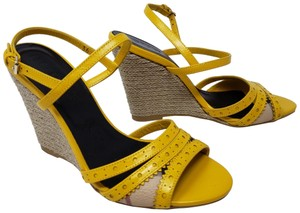 1fe5c94c6a94 Burberry Perforated Ankle Strap Nova Check Plaid Gold Hardware Yellow  Sandals