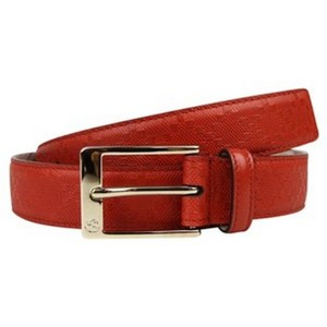 Gucci Orange Red Leather Diamante Square Buckle Belt 345658 (105 / 42) Groomsman Gift