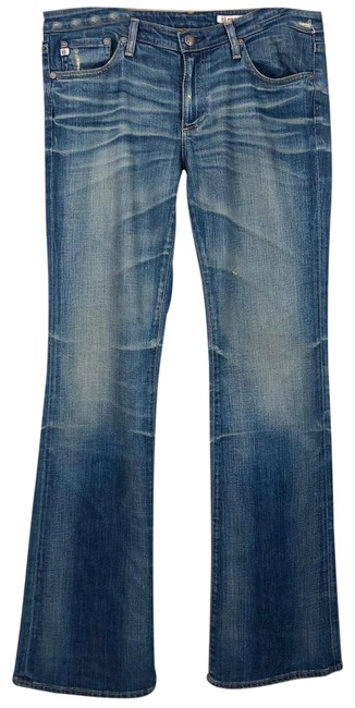 Item - Blue Distressed The Angel with Subtle Flare Boot Cut Jeans Size 31 (6, M)